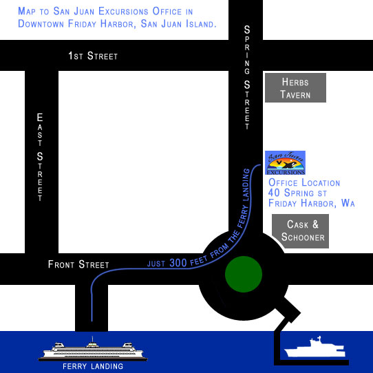 Map to the San Juan Excursions office in downtown Friday Harbor, San Juan Island.